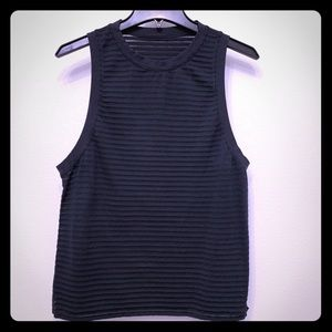 Lululemon Black Transparent Stripe Tank Top